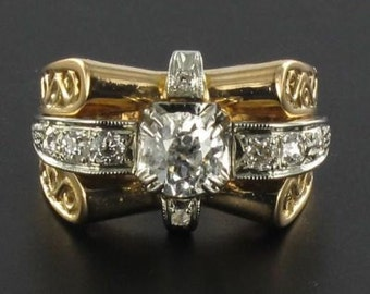 Ring old 60s 18K yellow gold diamonds
