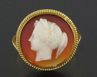 Ring former cameo Agate gold yellow 18K 19 th century