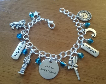 Off to neverland/second star to the right deluxe silver  adjustable charm bracelet available in adult and child sizes