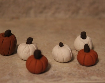 miniature pumpkins  (6pc) ~ Polymer clay