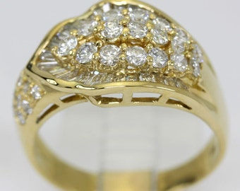 Diamond ring 18K yellow gold round brilliant baguettes .95CT overlap size 9 1/2