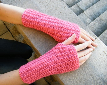 Knitted Pink Fingerless Arm Warmers- Hand Made