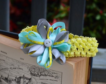 Blue and Yellow bow andheadband