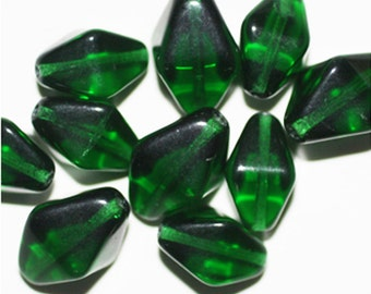 Emerald Bicone Czech Pressed Glass Beads 15mm (pack of 10)