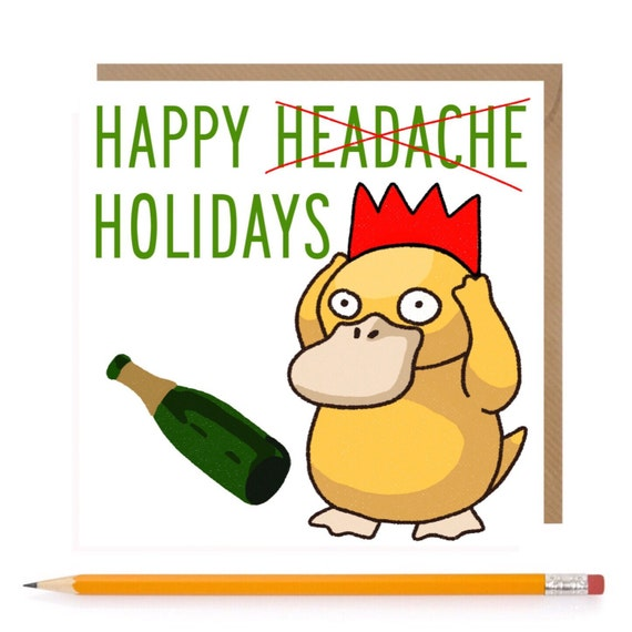 Pokemon Psyduck Christmas Greeting Card