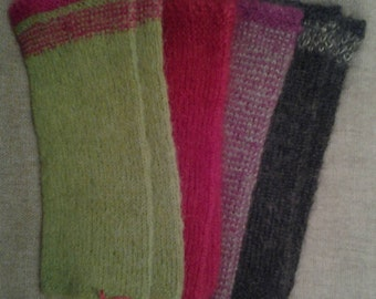 Arm warmers hand knitted of silk/mohair, cashmere or Alpaca