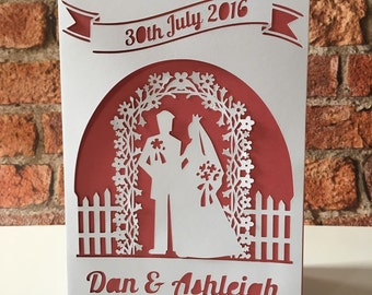 Personalised Wedding Card, Cut Out Card, Paper Cut Wedding Card, Bride And Groom Card, Wedding Date Card, Congratulations Card