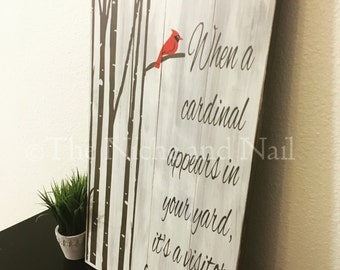Cardinal Sign, Rustic Home Decor, Gift for her, Gift for Him, Distressed Wood Sign,