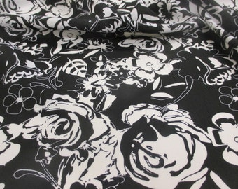 """White & Black Abstract Floral Printed Summer Dress fabric. 58"""" Wide."""