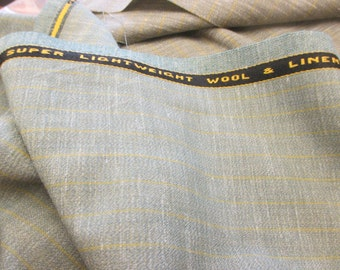 """Light Teal  And Grey Checked """"Super Lightweight Wool & Linen"""", English Suiting Fabric"""
