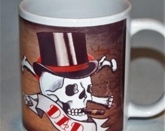 Dad SKULL mug, skull tattoo, FATHER's DAY mug by TattooMugLady, Father's Day gift, special mug for Dad, new Dad mug, Coffee mug for him