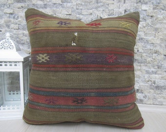 Hand made Flat Woven Vintage Kilim Pillowcase 20 x 20 inches Decorative Turkish Cultural Bedding Pillow Cover
