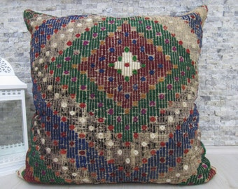 "Nomadic Needle Embroidery Kilim Rug Floor Pillow Kilim Pillow Cushion 32"" x 32"" Home Decor Turkish Pillow Rustic Pillow Bohemian Pillow"
