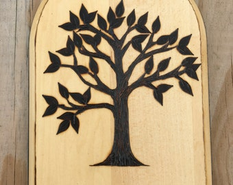 Wood Burned Wall Hanging Tree; Wood Burning; Trees; Nature; Wall Hangings; Home Decor; Plaques; Wall Art