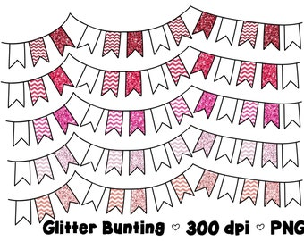 Digital Bunting Clipart Commercial Use Clip Art Graphics Pink Glitter Flags Pink Chevron - Set 1