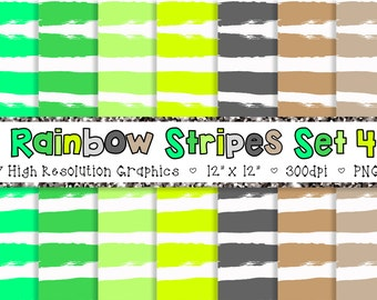 Doodle Stripes Digital Paper Pack in Green and Neutral - Personal and Commercial INSTANT DOWNLOAD {SET 4}