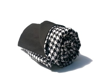 Black and White Houndstooth Wool Throw Blanket