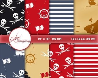 PIRATE Digital Paper, Pirates Printable Pattern Print Nautical, Treasure Map, Instant Download, Pirate Paper Patterns Scrapbook Print