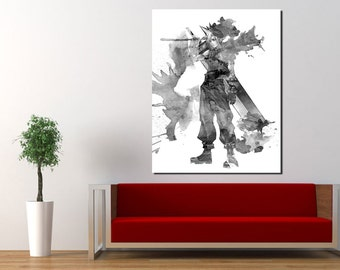 Cloud (Final Fantasy VII) - Watercolor and Pencil - Digital Download