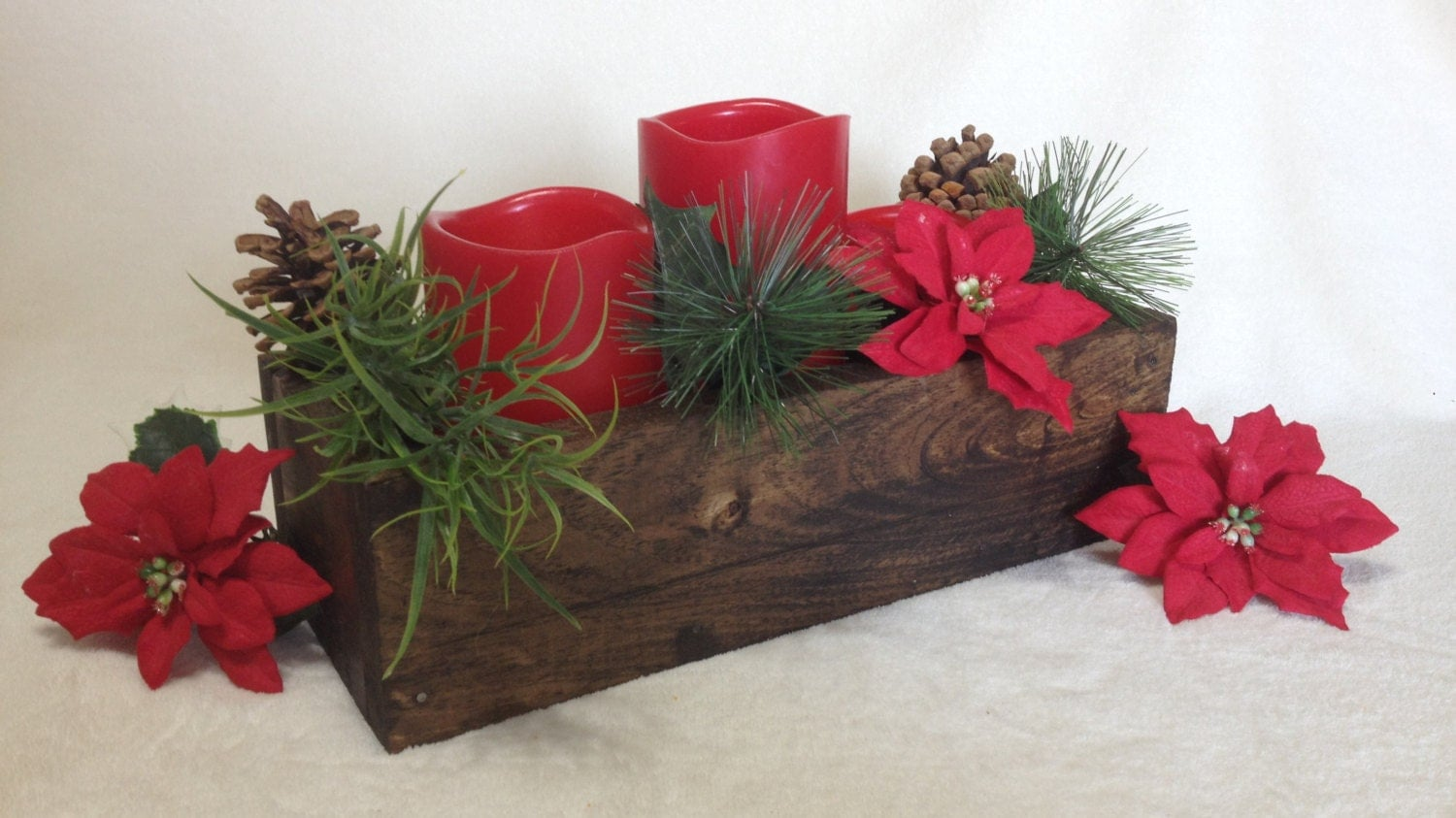 Christmas centerpiece stained wooden box table