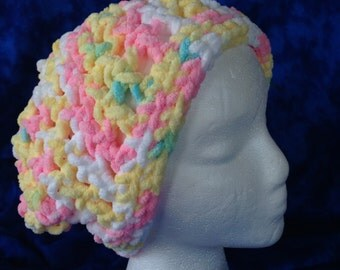 Women's crochet slouchy cloche hat pink yellow white blue
