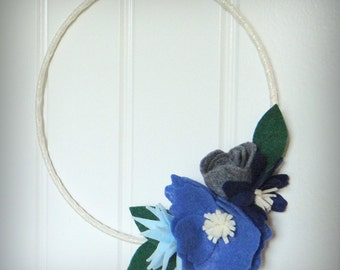 Felt flower wreath, Winter Wreath, 8 inch wreath, blue and gray felt, door decor, ribbon wrapped wire wreath