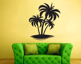 rvz1679 Wall Decal Vinyl Sticker Decals Palm Beach Waves Ocean Sea Poster