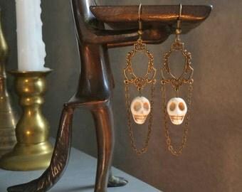 Skull Earrings | Victorian Gothic | Gothic Victorian | Día de Muertos | Día de los Muertos | Day of the Dead | voodoo | Halloween earrings