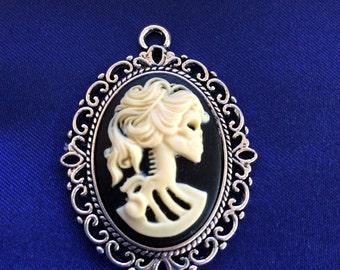 Gothic Skeleton Cameo Pendant