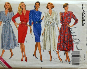 Uncut 1980s Butterick Vintage Sewing Pattern 4217, Size 12-14-16; Misses' Dress