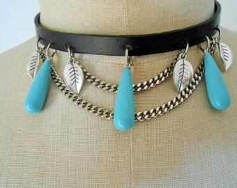 Turquoise choker necklace, Turquoise collar necklace, Turquoise necklace, Turquoise and Silver necklace, Turquoise statement necklace