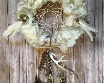 Special gift, valentine gift, Dreamcatcher, large!!!!! all season wreath, door decor, spiritual gift, indian gift, wool wreath