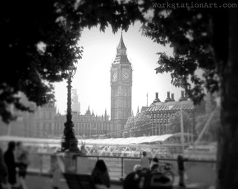 Ben Through the Trees: Big Ben, London, Clock Tower, Elizabeth Tower, Great Bell, Black and White, Photography,Gift, Home Decor, 8x10 photo
