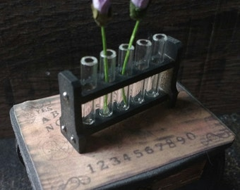 Miniature Laboratory Test Tubes - Doll House Miniatures - Flower Display - Gothic Decor - Gothic Miniatures