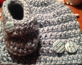 Baby boy crochet loafers and matching hat