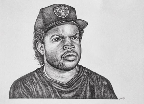 Ice Cube original pen & ink drawing by DenaDavisArt on Etsy