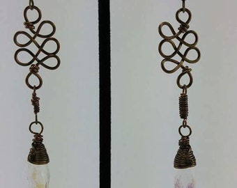 Serpantine amulet drop earrings
