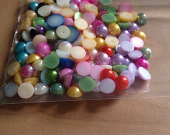 100 x  8mm mixed colours resin flatback flat back  scrapbook Embellishments card making crafts