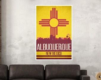 Albuquerque State Flag Skylines Poster Print