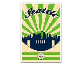 Seattle Washington Football Poster with a Vintage Look
