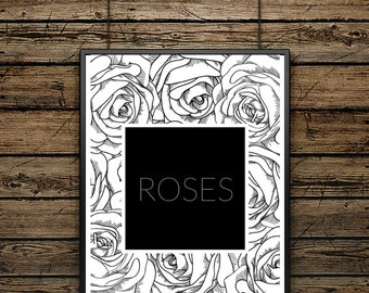 """Poster Word """"ROSES""""- Scandinavian Style - Wall decoration - Typographic Illustration - Gift - Black and White - Motivation"""