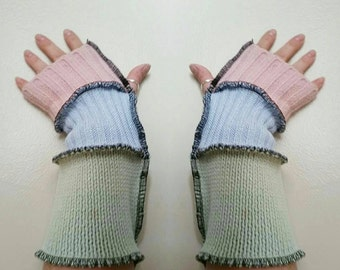 Upcycled repurposed eco friendly arm warmers pink light green light blue