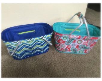 Personalized utility tote chevron beach bag