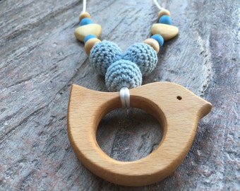 Baby Blue Wooden Bird Teething Necklace