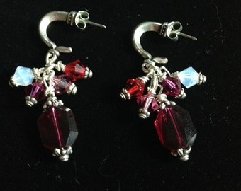 Silver and red/pink earrings