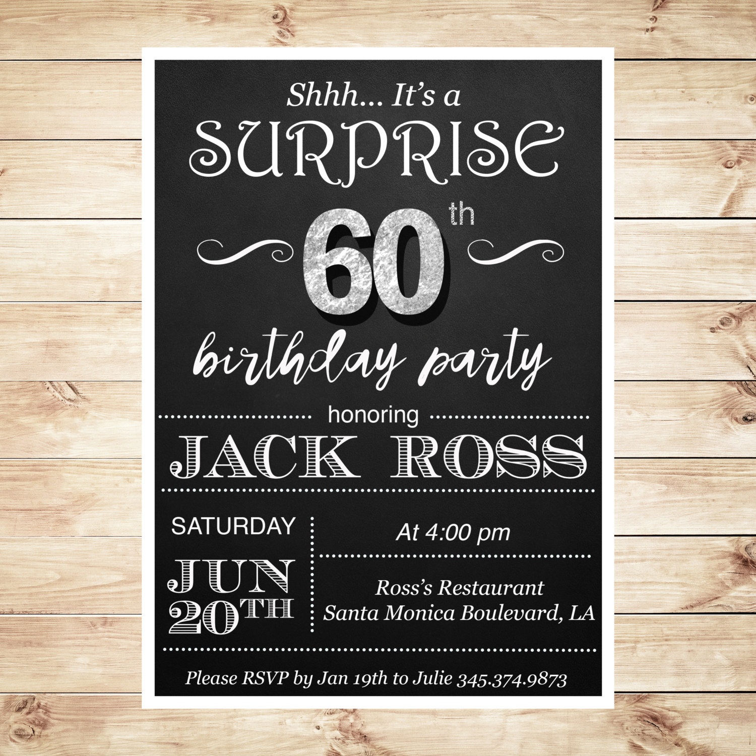 60th Birthday Surprise Party Invitations By DIYPartyInvitation