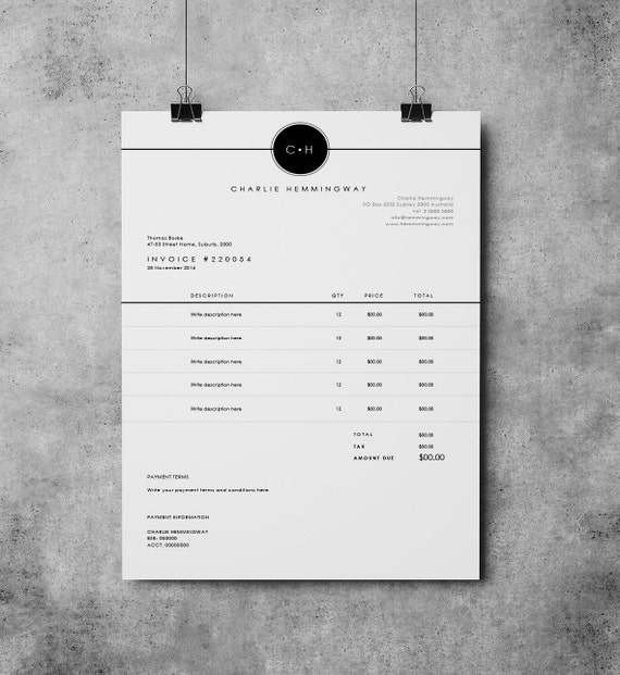 Invoice Template | Invoice Design | Receipt | MS Word Invoice Template|  Photoshop Invoice Template | Printable Invoice  Invoice Style