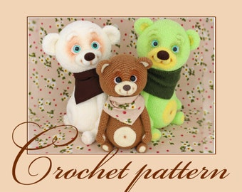 Syomushka - the little bear  - Amigurumi Crochet Pattern PDF file by Anna Sadovskaya