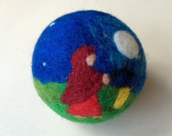 The lantern Walk. Waldorf inspired 100% wool needle felt activity ball