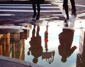 Reflection in Street,  NYC photo, New York photography, street photography, art print, downtown, puddle, reflection, street